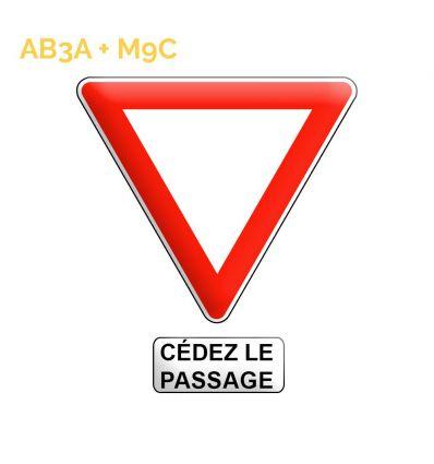 AB3a + M9c - Panneau cédez le passage à l'intersection avec panonceau cédez le passage Mysignalisation.com