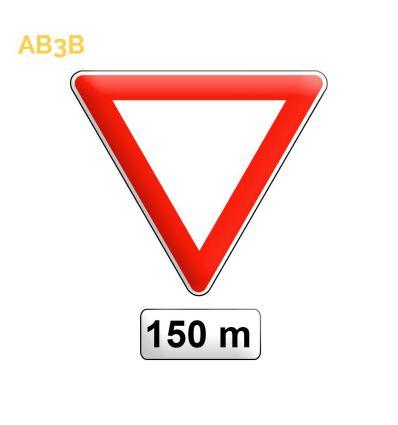 AB3b - Panneau de signalisation avancé de cédez le passage Mysignalisation.com