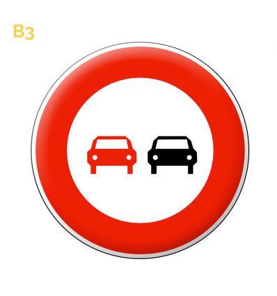 B3 - Panneau interdiction de doubler tous les véhicules à moteur Prozon.com