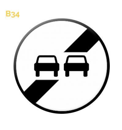B34 - Panneau fin d'interdiction de dépasser notifiée par le panneau Mysignalisation.com