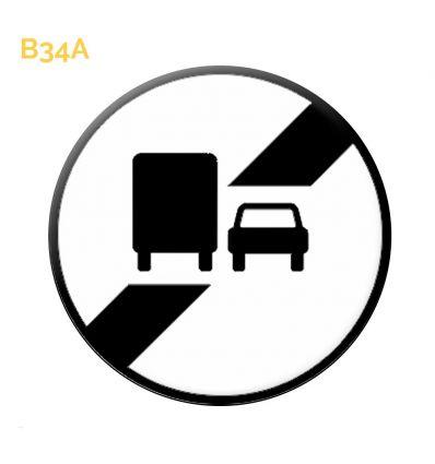 B34a - Panneau fin d'interdiction de dépasser notifiée par le panneau Mysignalisation.com
