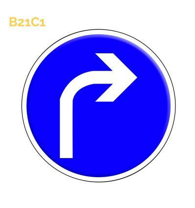 B21c1 - Panneau direction obligatoire à la prochaine intersection: à droite Mysignalisation.com