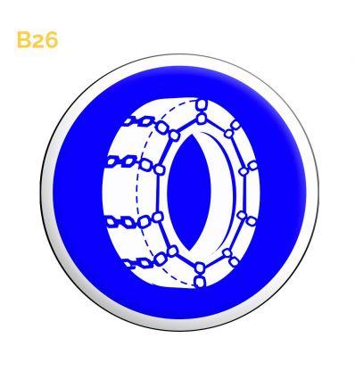 B26 - Panneau chaine à neige obligatoire sur au moins 2 roues motrices Mysignalisation.com