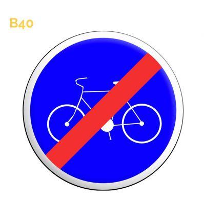 B40 - Panneau fin de piste ou bande obligatoire pour les cycles sans side car ou remorque  Mysignalisation.com