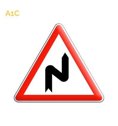 A1c - Panneau succession de virages dont le premier est à droite Mysignalisation.com