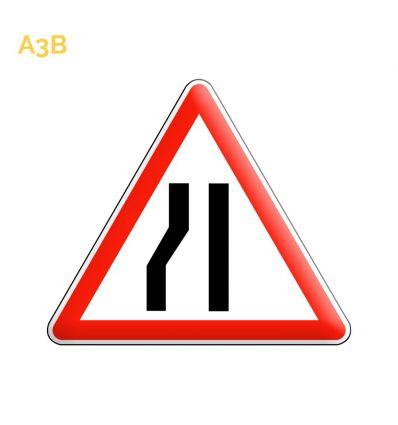 A3b - Panneau chaussée rétrécie par la gauche Mysignalisation.com