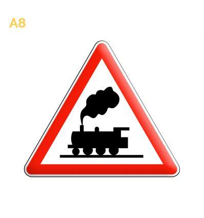 A8 - Panneau passage à niveau sans barrières ni demi barrières Mysignalisation.com