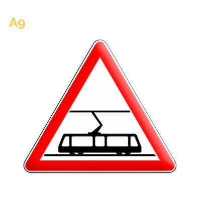 A9 - Panneau traversée de voies de tramways Mysignalisation.com