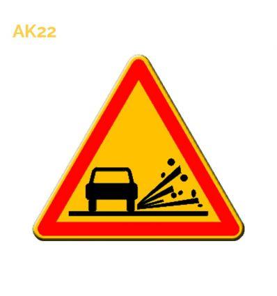 AK22 - panneau routier temporaire projection de gravillons Mysignalisation