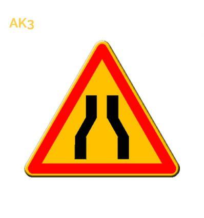 AK3 - panneau routier temporaire chaussée rétrécie
