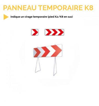 K8 - Panneau temporaire de virage