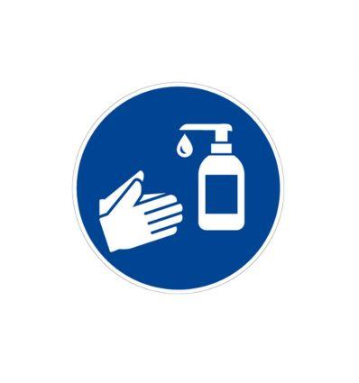 Panneau désinfection des mains à l'aide de gel hydroalcoolique