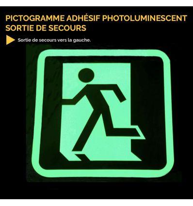 Pictogramme adhésif photoluminescent sortie de secours Mysignalisation.com