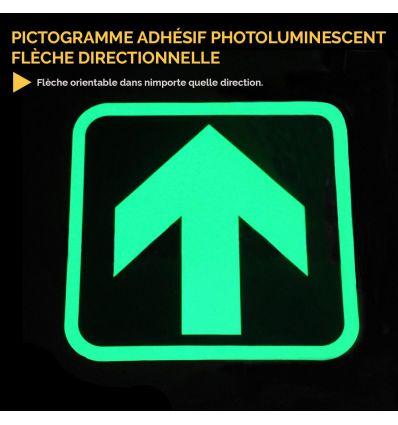 Pictogramme adhésif photoluminescent flèche directionnelle Mysignalisation.com