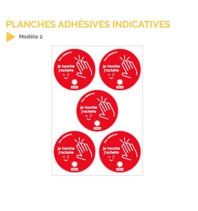 Planche d'adhésifs indicatives pour le Covid-19