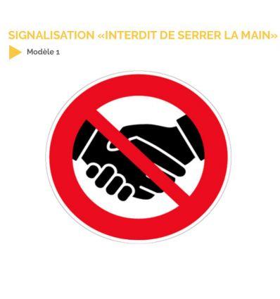 """Adhésif """"Poignée de mains interdites"""" pour la lutte contre le Covid-19"""