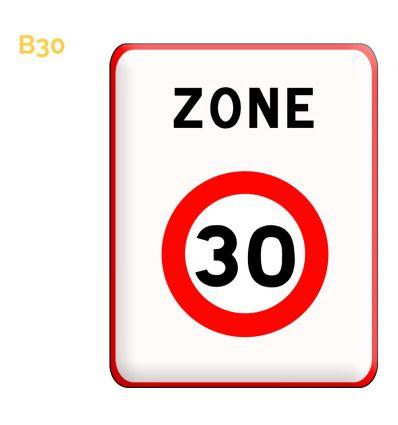 B30 - Panneau entrée d'une zone à vitesse limitée à 30 km/h Mysignalisation.com