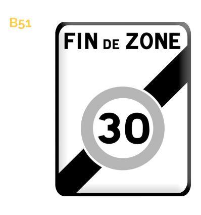 B51 - Panneau fin d'une zone à vitesse limitée à 30km/h Mysignalisation.com