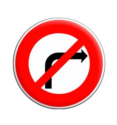 BK2b - Panneau temporaire Interdiction de tourner à droite