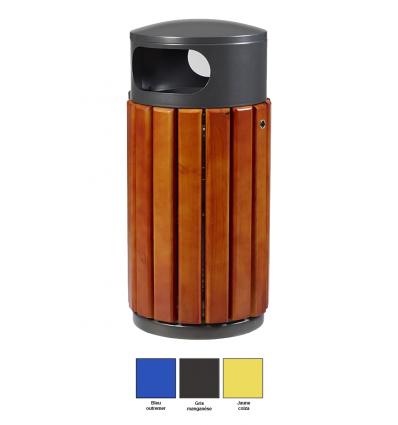 Poubelle Extérieure En Bois 40 ou 60 Litres Bleu Jaune Gris