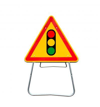 AK17 - Panneau de Chantier Signaux Lumineux Signalisation en Acier sur Pied Dépendant